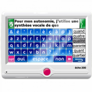 Communication par synthèse vocale (clavier virtuel)