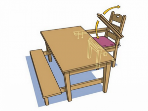 Le combiné table-chaise-banc